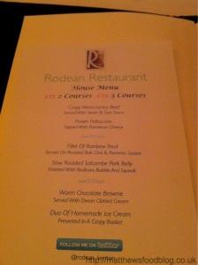 Rodean Restaurant Kenton Menu